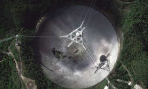 View from above: looking down on Arecibo's big dish.