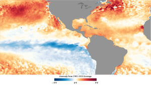 Map of Earth's oceans in oranges and blues.