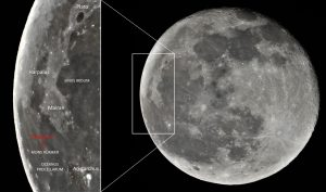 A large waning gibbous moon, annotated with Chang'e 5's landing site and other features.