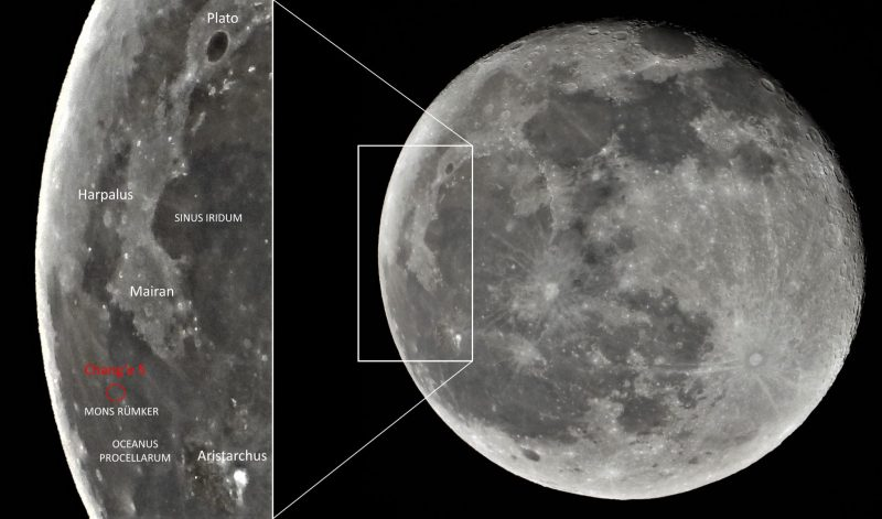 A large waning gibbous moon, with Chang'e 5's landing site and other features labeled.