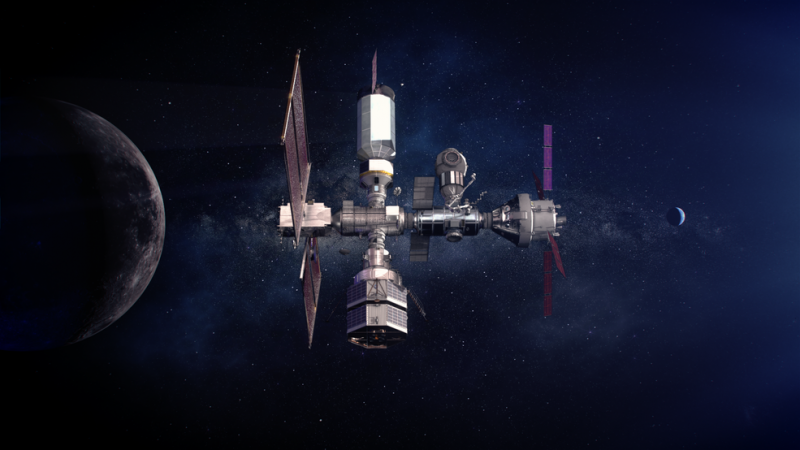 An orbiting space station, with the moon below.