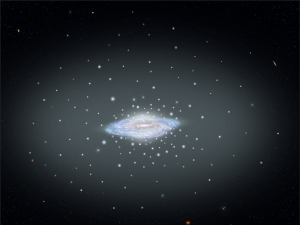 Disk-shaped blob with many smaller bright dots and halo around it.