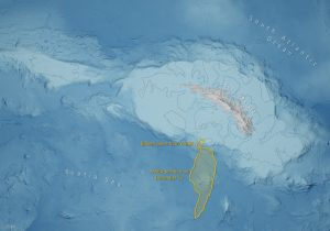 Illustration showing the ice shelves around South Georgia and the iceberg's position with respect to them.