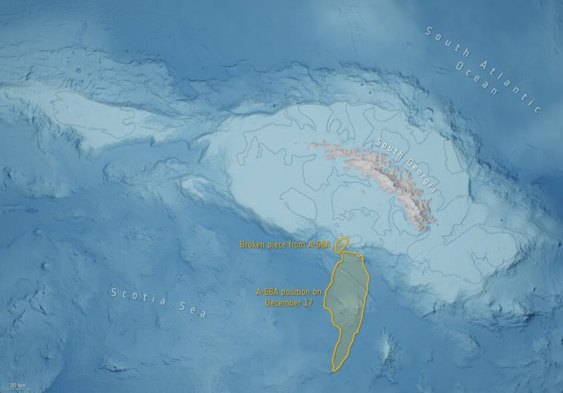 Illustration showing the island, its surrounding shallows and the iceberg's two parts near them.