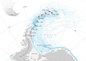 Map of iceberg's path, 2017 to 2020.