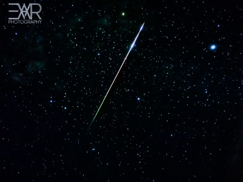 Long, bright, colorful meteor.