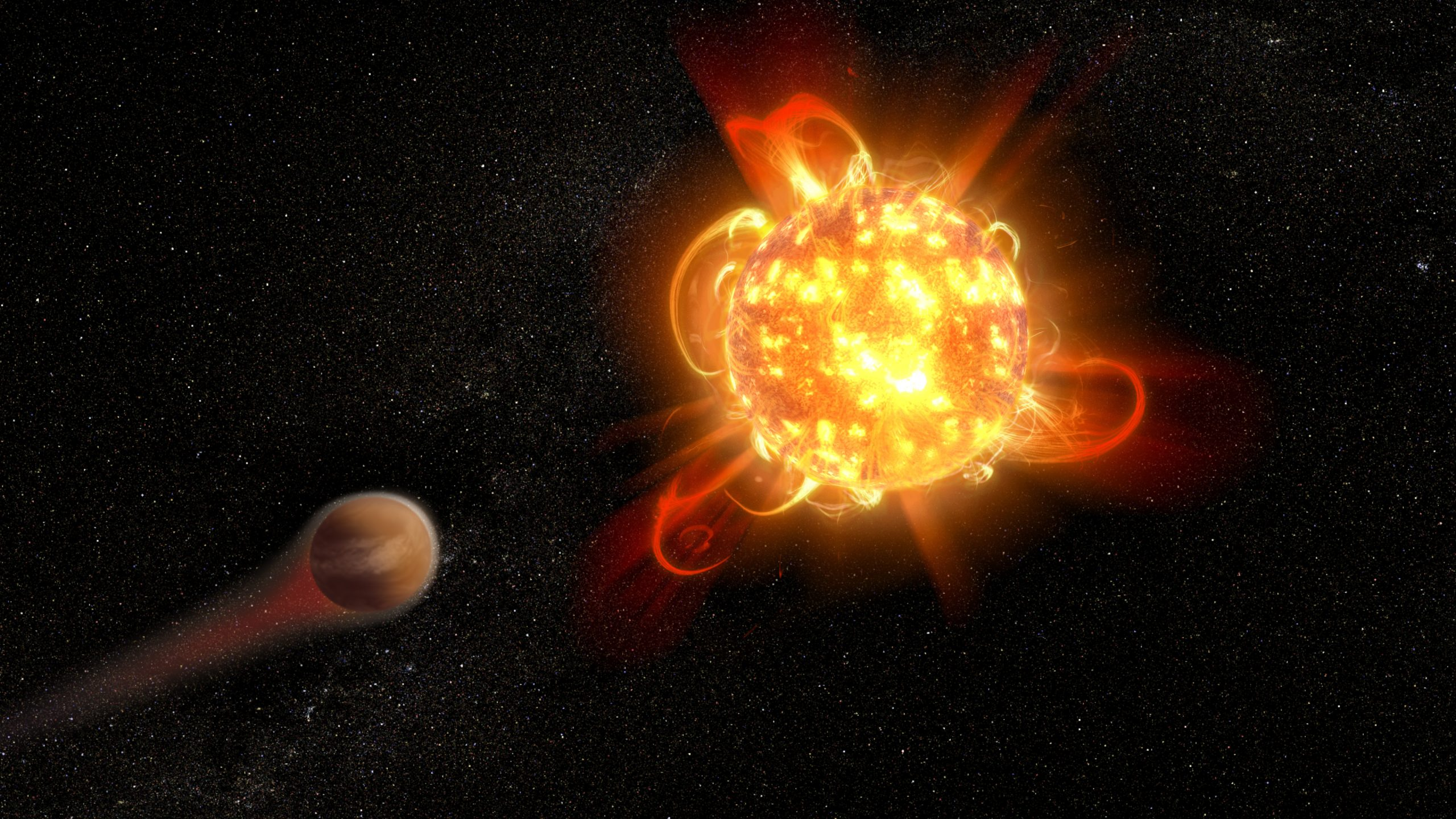 Bright reddish star with large flares and nearby planet.