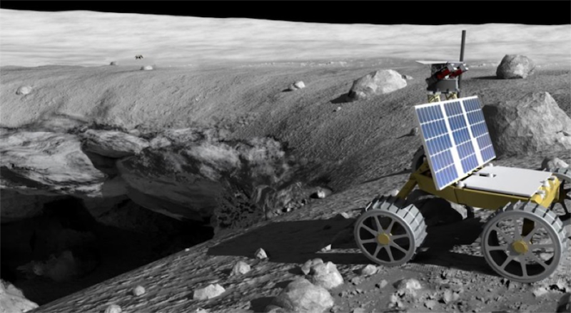 Four-wheeled machine with big solar panel at edge of a deep, dark pit on the moon's gray surface.