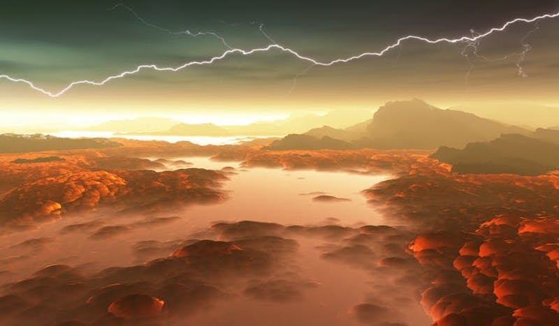 Red landscape under clouds with lightning across sky.