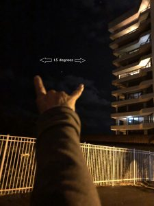 From pinky to index finger measures 15 degrees of sky.