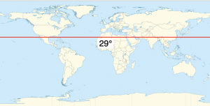 A map of the world, with the 29th parallel - a line at 29 degrees N. latitude - drawn in.