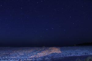 Big Dipper over frozen Lake Superior.