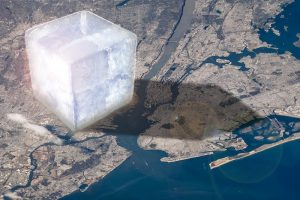 A huge cube of ice on the left side of a map of New York.