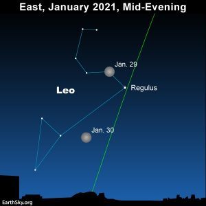 Star chart showing the moon moving in Leo the Lion on January 29 and 30.