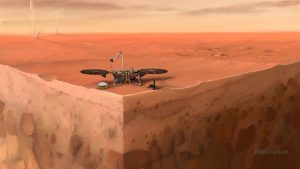 Robotic lander on a planetary surface, with cutaway view of subsurface.