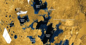 Satellite view of large dark blue lakes, with text annotations.