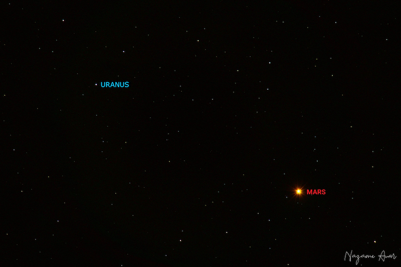 Red glowing dot to the right and white dot top left, both labeled, on star field.