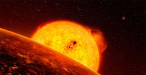 Artist's concept of a red giant scorching a planet.