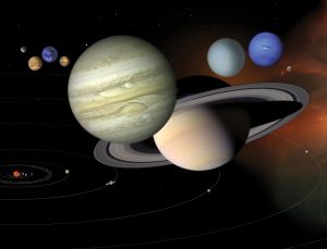 Artist's concept of the planets in the solar system.
