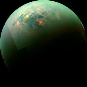 Lakes and seas on Titan, with sunlight glinting off them.