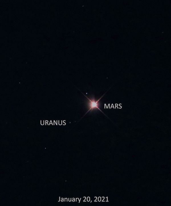Bright reddish planet with spikes in center, Uranus to the left as a small dot, labeled with names and date.