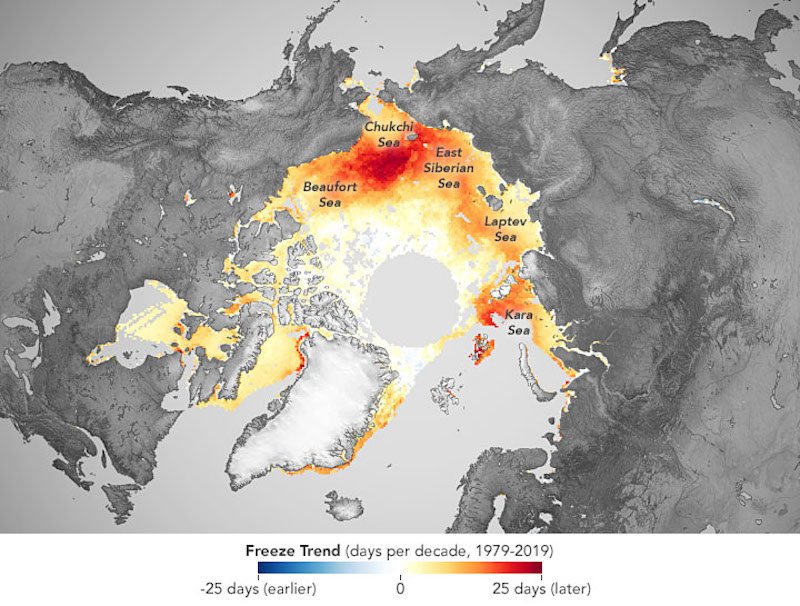 Map of Arctic with large areas colored yellow and red.