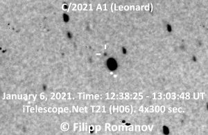 A very faint star field, with the comet, a tiny dot, within tick marks.