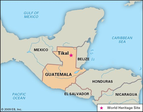Map of Central America with Guatemala outlined and red star at location of Tikal.