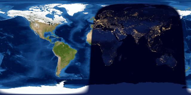 Map of day and night sides of Earth. Western Hemisphere sunlit and most of Eastern Hemisphere in darkness.