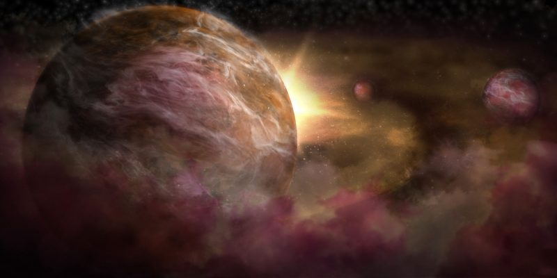 Three planet-like spheres in gas and dust cloud around a closeby star.