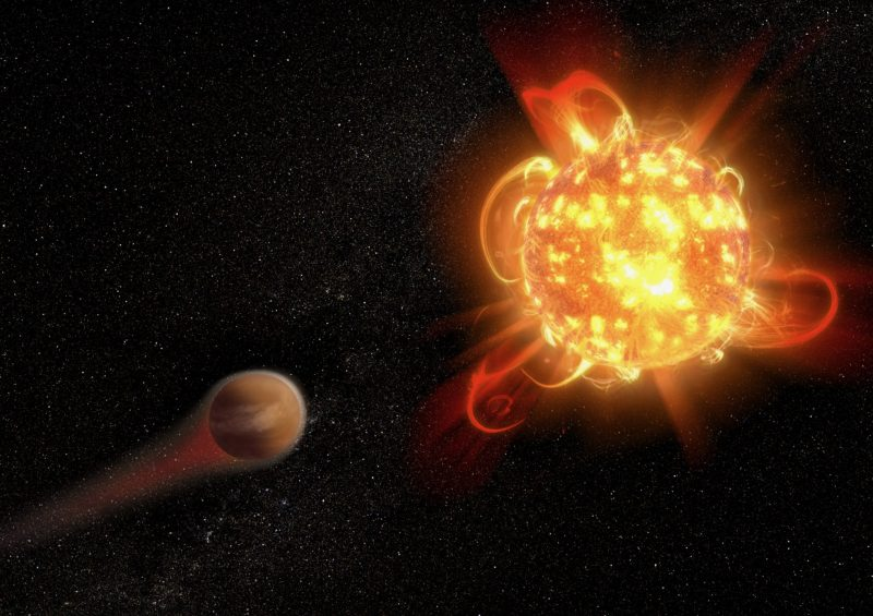 Bright reddish star with huge arcs of glowing gas and nearby planet with atmosphere streaming off.