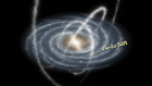 An illustration of the spiral-shaped flat disk of the Milky Way, with arcs of star streams extending above and below the galactic disk.