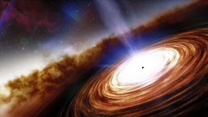 A tiny black dot at the center of a swirling disk. A jet appears to emanate from the dot, perpendicular to the disk.