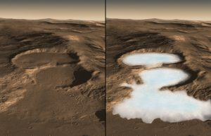Reddish terrain with craters on the left, and the same terrain but with white patches filling the craters on right.