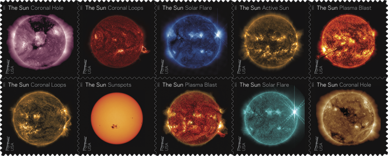 10 postage stamps each with a different-colored closeup of the sun showing spots and flares.