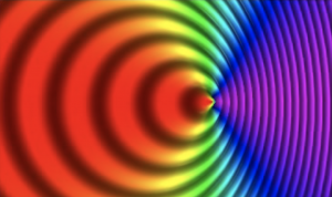 A rainbow-like background, with concentric circles indicating movement. The red side is stretched out; the blue side is squished up.