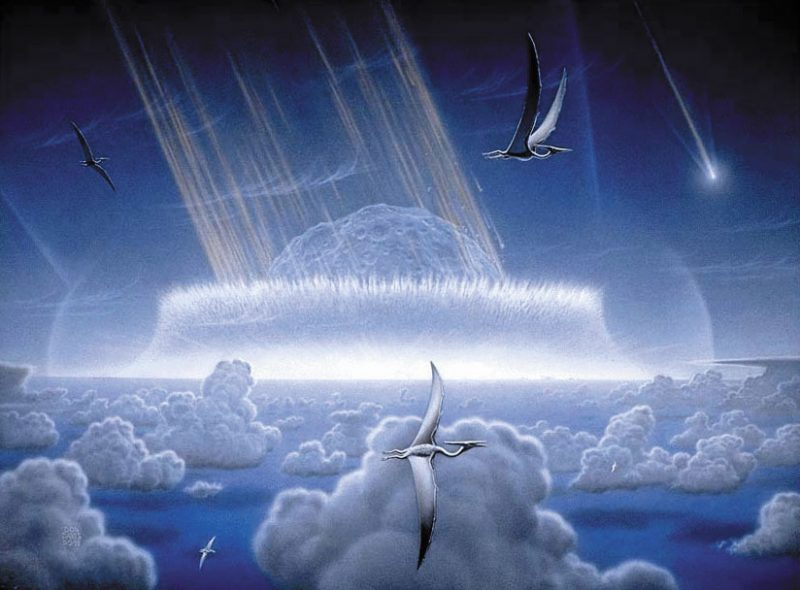 Gigantic splash around huge, cratered asteroid hitting Earth, with pterodactyls flying in the foreground.
