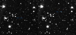 Side-by-side starfields with blue lines marking object.
