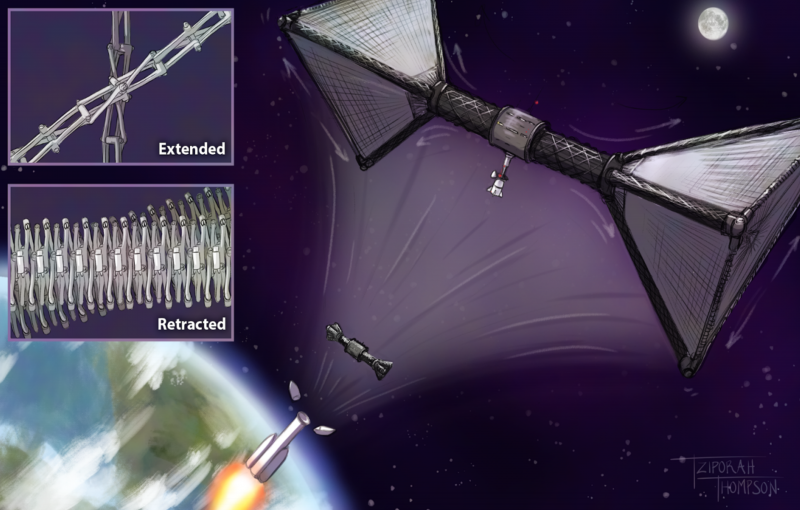 Large barbell-shaped structure in Earth orbit with inset showing components.