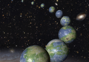 An arc of earthlike worlds in starfield with galaxies in background.