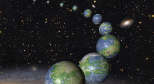 Illustration showing many Earth like plants against stars.