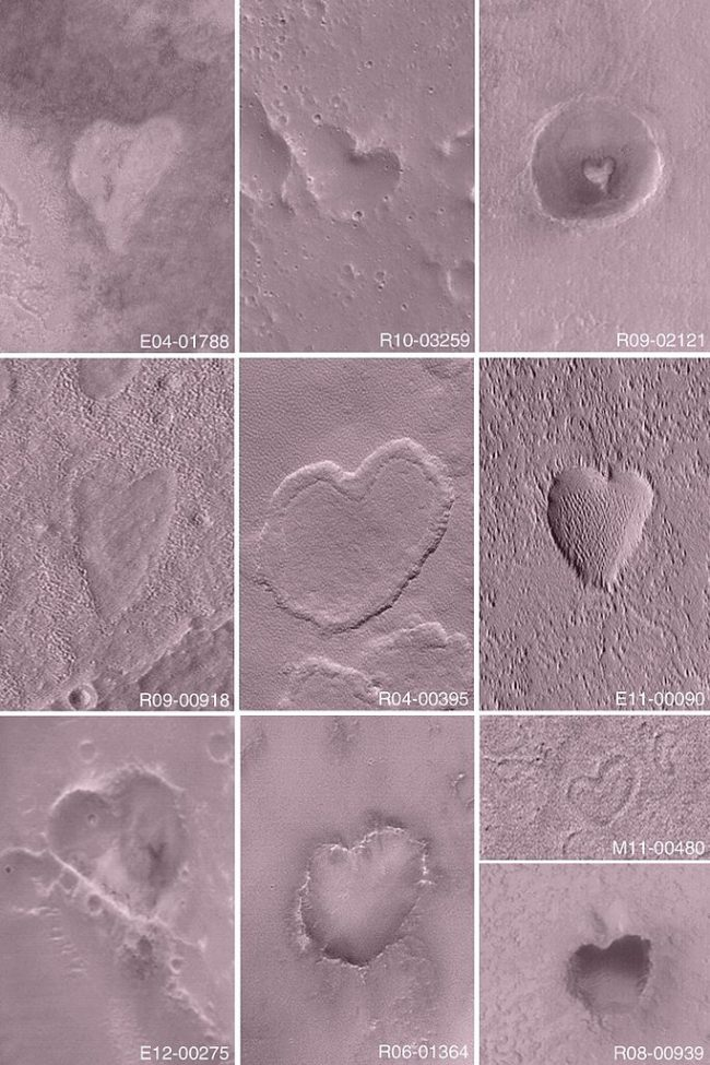 Orbital view of 10 varied heart-shaped craters in pinkish landscapes.