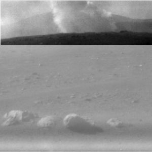 Rocky surface with debris scattered, inset with plume of smoke.
