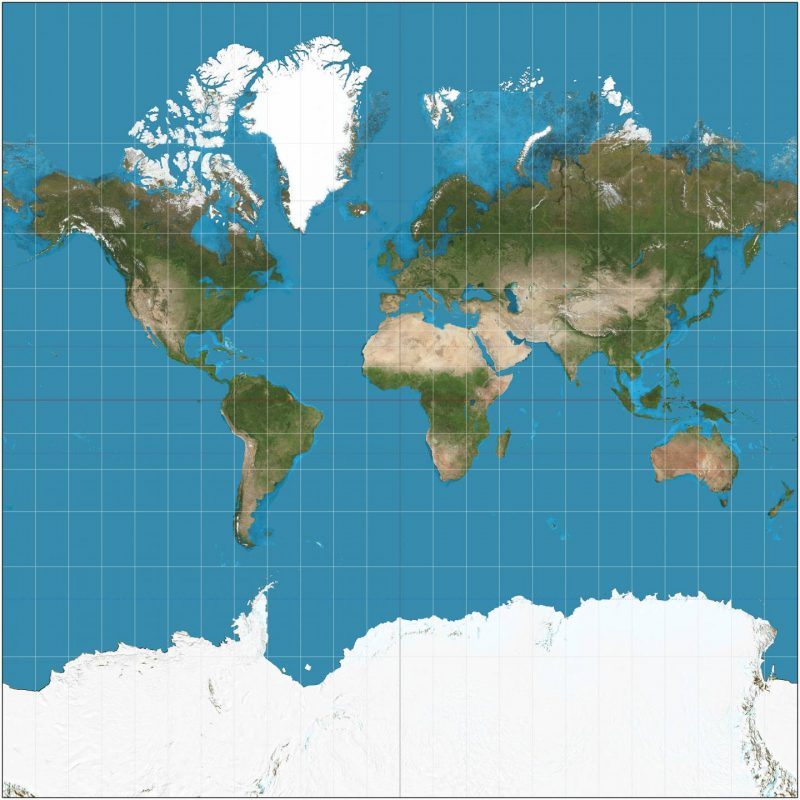 Square map of the world.