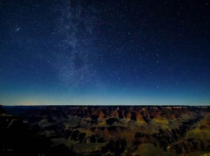Starry Milky Way and Andromeda over Grand Canyon.