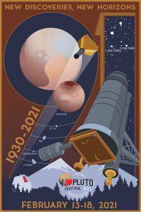 Poster with drawing of Pluto and telescope over forest and mountains with text annotations.