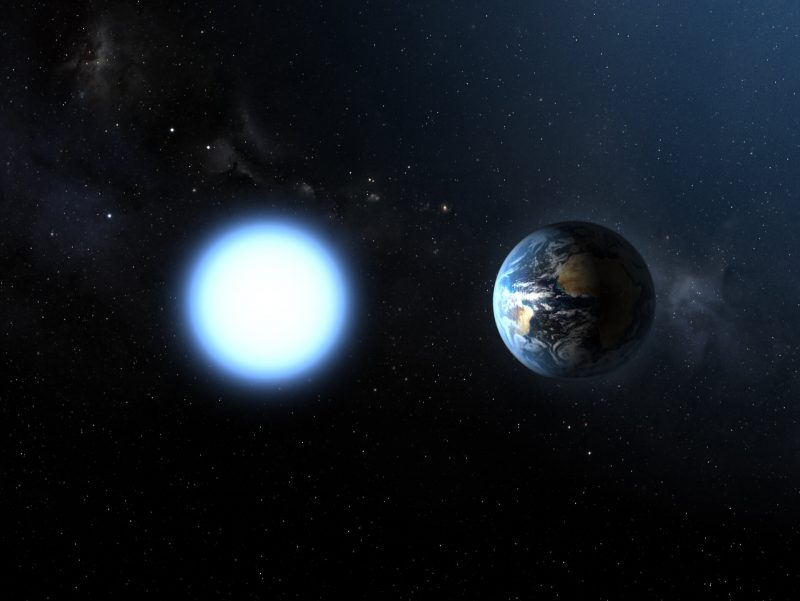Brilliantly glowing white Earth-sized ball next to Earth, stars behind them.
