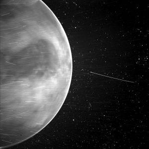 Crisp white-edge orb with mottling on surface, scattered thin white lines.