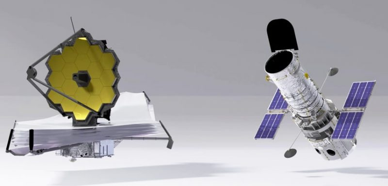 Diagram for size comparison of two satellite telescopes, larger Webb telescope with open gold reflector dish to the left and Hubble with tube to the right.
