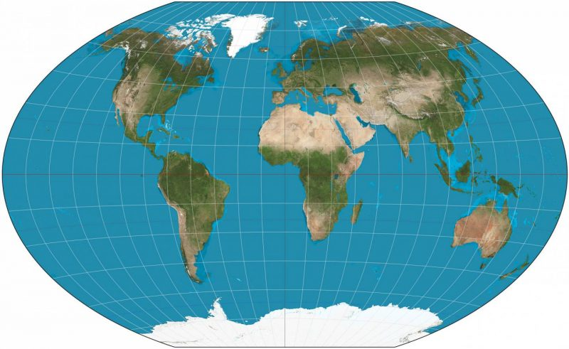Oval map of the world.